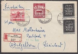 GERMANY 1953 Airmail cover ex Berlin - nice franking........................B337