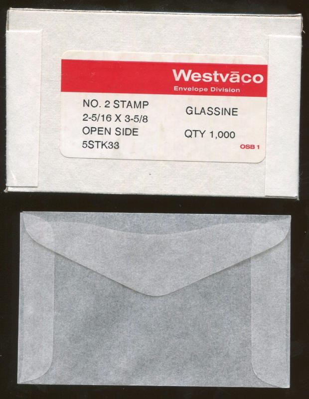 Lot of 3 Boxes - 3000 Westvaco No. 2 Stamp Glassine Envelopes 2-5/16 x 3-5/8