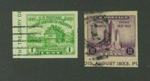 US 1933 American Philatelic Society Souvenir Sheet Singles, Scott 730a-731a used