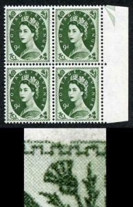 S126C 9d Bronze Green Crowns Wmk Block of 4 with Broken Frame Flaw U/M