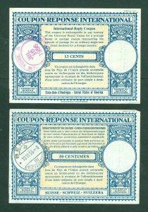 Switzerland. 1955-56. 2 Postage Coupon-Response International. Used.