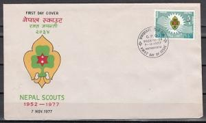 Nepal, Scott cat. 336. Scouts 25th Anniversary issue. First day cover. ^