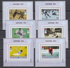 Ajman, Mi cat. 762-767 C. Sapporo Olympics issue as s/sheets.