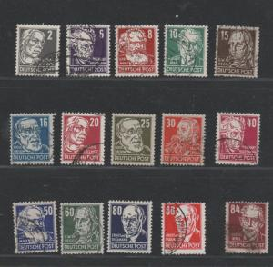 GERMANY STAMPS GDR scott 122-136 mint & used mix 57 0717