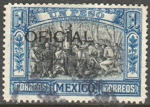 MEXICO O84, $1P OFFICIAL Independence Cent. SINGLE, Used. VF. (905)