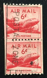 US #C41 Used Coil Pair F/VF - Airmail Transport 6c