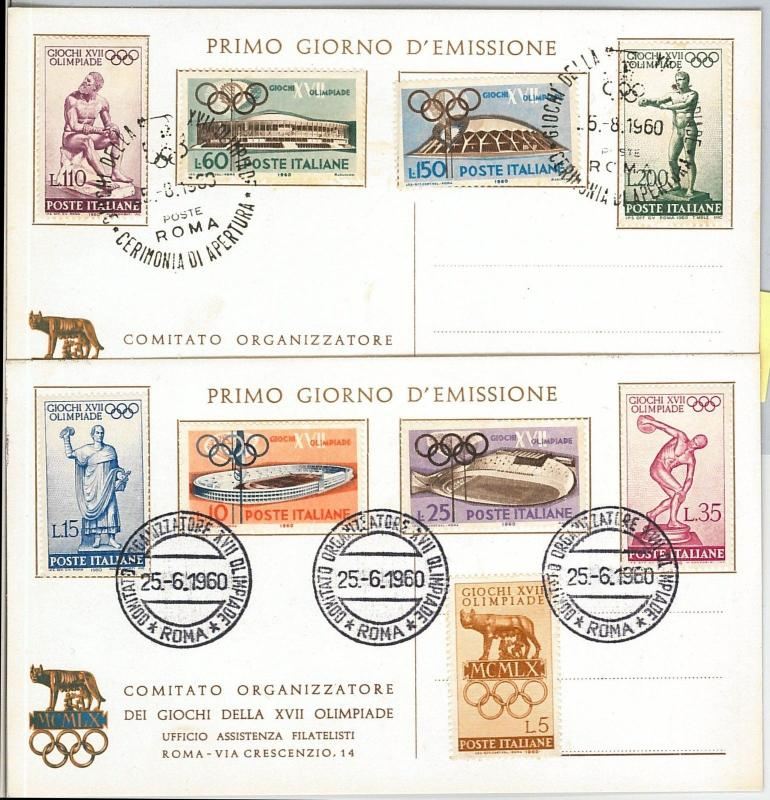 59963  - ITALY - POSTAL HISTORY - Set od 3 FDC CARDS : OLYMPIC GAMES 1960