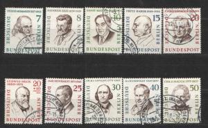 Germany Berlin 1957-59 Sc# 9N148-9N156 & 9NB19 Used NH/VLH VF+