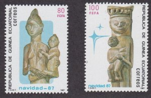 Equatorial Guinea #  116-119, Christmas, Wood Carvings, NH, 1/2 Cat.