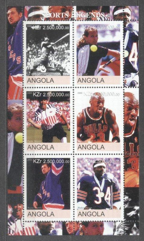 Angola 2000 Sports legends, perf. sheet, MNH     S.084