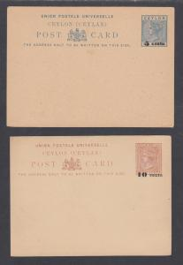 Ceylon H&G 9,13, mint. 1885 Postal Cards, 2 different surcharges, F-VF
