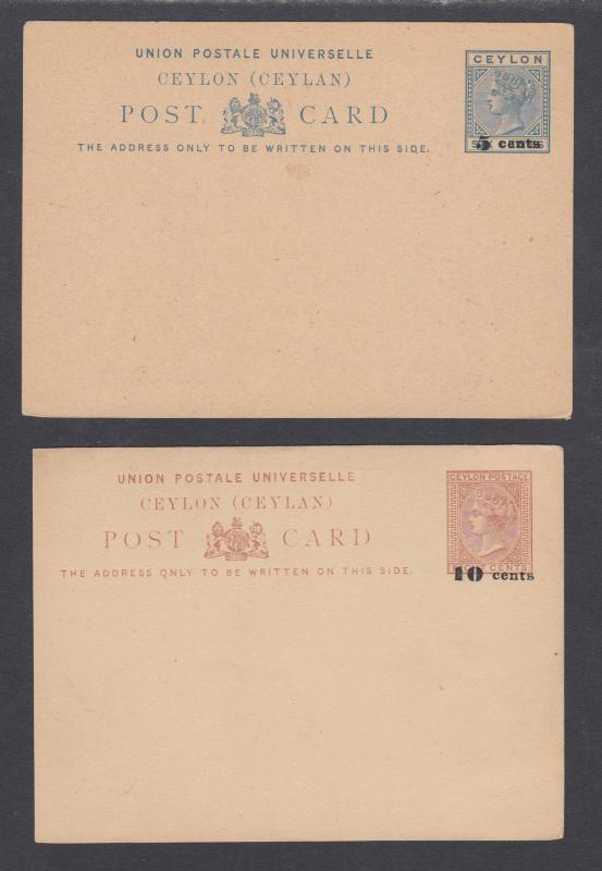 Ceylon H&G 9,13, mint. 1885 Postal Cards, 2 different surcharges, VF