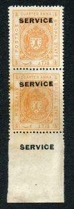 Bhopal SGO313c 1932 1/4a Orange Perf 13.5 Opt SERVICE at TOP Pair (no gum)