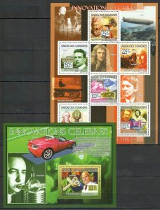 UC364 2009 COMOROS FAMOUS PEOPLE INNOVATIONS TECHNOLOGIES BL+KB MNH