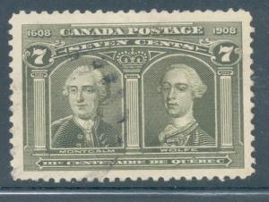 Canada Sc 100 1908 7 c Wolfe- Montcalm stamp used