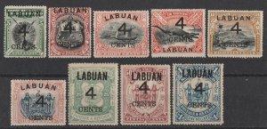 LABUAN : 1899 Large '4 CENTS' on Pictorial set 5c-$1.