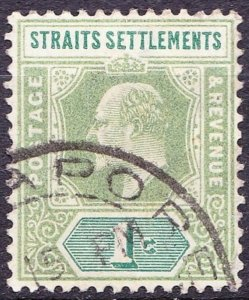 MALAYA STRAITS SETTLEMENTS 1902 KEVII 1 Cents Pale Green SG110a Used