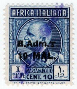 (I.B) BOIC (Tripolitania) Revenue : Duty Stamp 10m on 10c OP