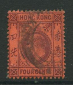 Hong Kong - Scott 89 - KEVII Definitive  -1904 - VFU- Single 4c Stamp