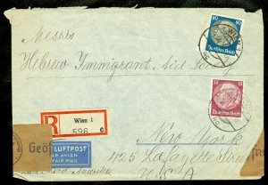 EDW1949SELL : ISRAEL May 1940 Reg & Censored Air Mail cover from Austria to USA.