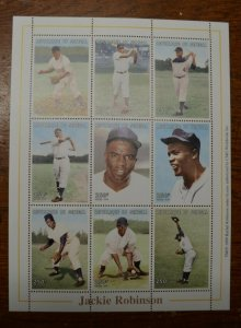 Baseball Stamps- Jackie Robinson, Souvenir Sheet with 9 stamps-Senegal-MNH