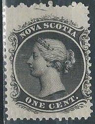 Nova Scotia 8 (mh) 1c Queen Victoria, black (1860-63)