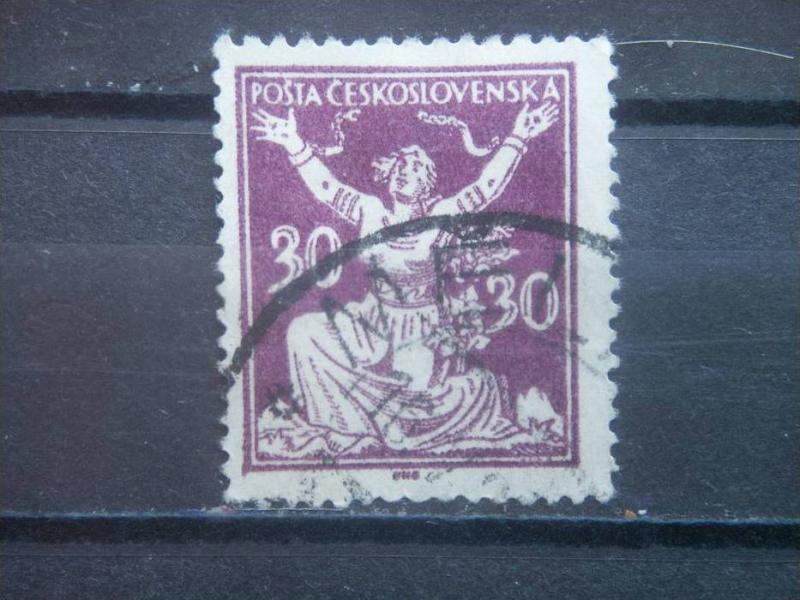 CZECHOSLOVAKIA, 1920, used 30h, Breaking Chains. Scott 70