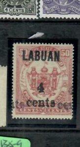 LABUAN  (P0309B)  4C/50C DOUBLE OVPT  SG 136A  CEREMEUGA CERT MNH