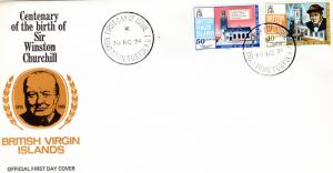 BRITISH VIRGIN ISLANDS 1974 Sc#278/279  WINSTON CHURCHILL Set (2) FDC