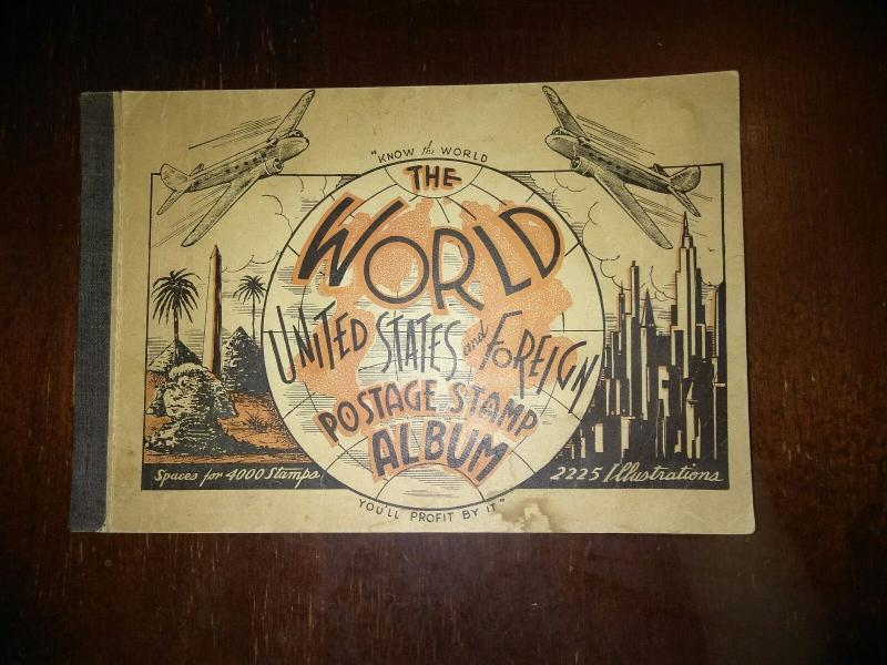 THE WORLD STAMP ALBUM VINTAGE CIRCA 1940 FREE US SHIPPING
