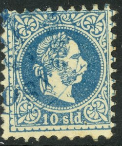 AUSTRIAN OFFICES IN TURKEY 1867 10s Blue Coarse Whiskers Sc 4 VFU