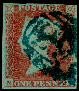 SG8, 1d red-brown, USED. Cat £250. BLUE POSTMARK.