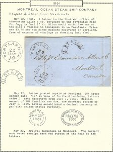 Montreal Ocean SS Co 1861 stampless / Portland to Montreal/ re rates to coal...