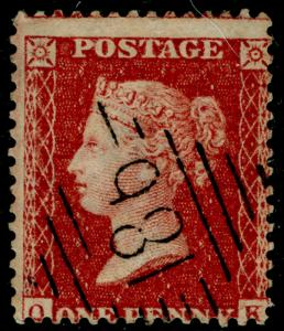 SG41, 1d dp rose-red, LC14, FINE USED. Cat £20. IRELAND.