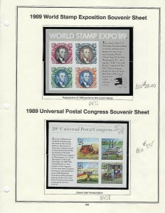 1989 WORD STAMP EXPO & UNIVERSAL POSTAL CONGRESS SOUVENIR SHEETS SCV $30.75 W42