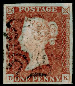 SG8, 1d red-brown PLATE 27, FINE USED. Cat £60. BLACK MX. 4 MARGINS. DK
