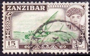 ZANZIBAR 1964 15 Cents Green & Sepia SG375 Fine Used