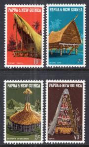 Papua New Guinea MNH 319-22 Huts Local Architecture 1971