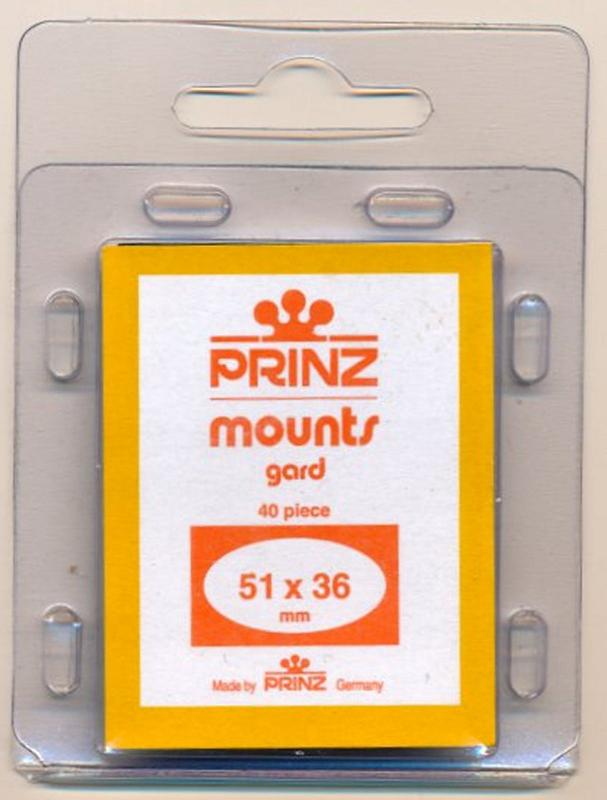 Prinz Scott Stamp Mounts Size 51/36 CLEAR Pack of 40