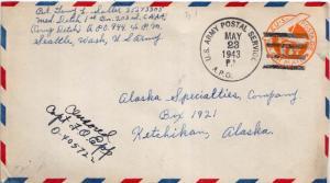 United States A.P.O.'s 6c Monoplane Air Envelope 1943 U.S. Army Postal Servic...