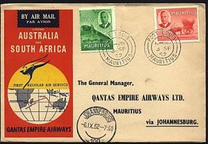 MAURITIUS 1952 Qantas first flight cover to South Africa...................93458
