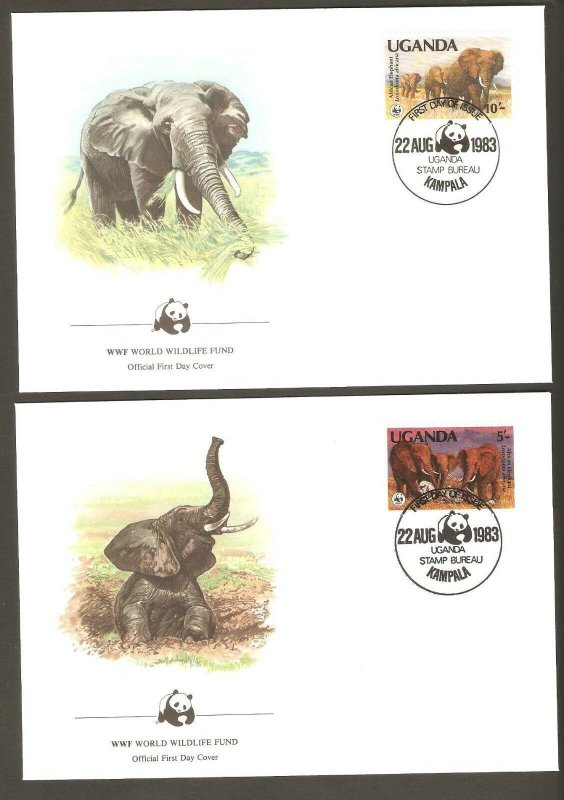 1983   UGANDA  -  4 x WWF FIRST DAY COVERS  -  ELEPHANTS - Series 1