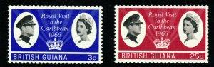BRITISH GUIANA QE II 1966 Royal Visit Set SG 376 & SG 377 MINT