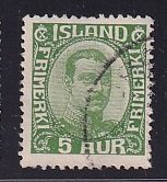Iceland    #111  used   1920  Christian X   5a  green