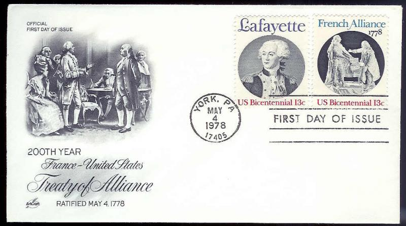 UNITED STATES FDC 13¢ Bicentennial 1978 Artcraft combo