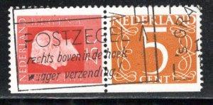 Netherlands Scott # 460B, 405, part of booklet pane, used, se-tenant