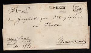 $German Stampless Cover, Enbeck-Braunschweig (18 April 1821)