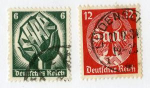 GERMANY 444-445 USED SCV $1.20 BIN $0.50 HANDS AND COAT OF ARMS