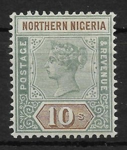 NORTHERN NIGERIA SG9 1900 10/= GREEN & BROWN MTD MINT