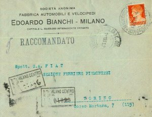 93179 - ITALY - POSTAL HISTORY - PERFIN stamp on COVER: Bianchi BICYCLES 1931